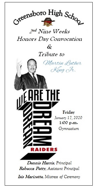 2nd Nine Weeks Honors Day Convocation & Tribute to Dr. Martin Luther King, Jr.