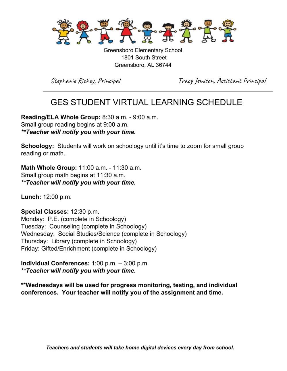 GES Virtual Learning Schedule