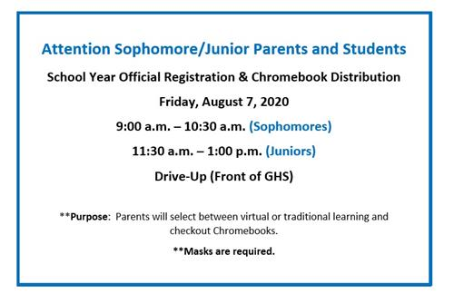 Sophomore and Junior Registration